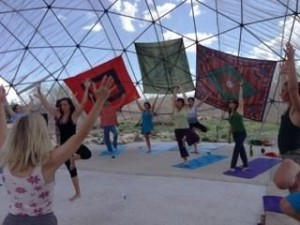 A yoga class during the Bhakti Festival.